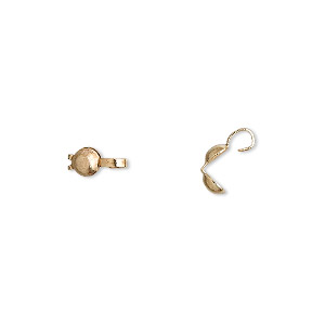 bead tip, gold-plated brass, 8x3.5mm bottom clamp-on. sold per pkg of 100.