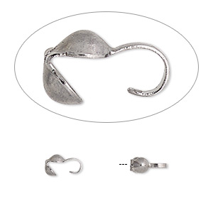 bead tip, gunmetal-plated brass, 6x3mm bottom clamp-on. sold per pkg of 100.