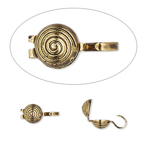 bead tip, hot tips, antique gold-plated brass, 9x5mm spiral. sold per pkg of 100.