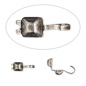 bead tip, hot tips, antique silver-plated brass, 7x5mm faceted square. sold per pkg of 100.