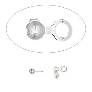 bead tip, silver-plated brass, 6.5x2.5mm side clamp-on. sold per pkg of 100.