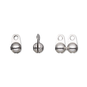 bead tip, stainless steel, 10x6mm side clamp-on, fits 4.5mm ball chain. sold per pkg of 10.