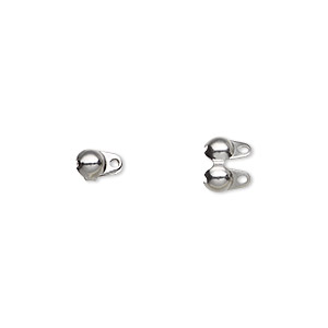 bead tip, stainless steel, 6x4mm side clamp-on, double loop. sold per pkg of 200.