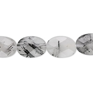 bead, tourmalinated quartz (natural), 14x10mm faceted puffed oval, b grade, mohs hardness 7. sold per 16-inch strand.