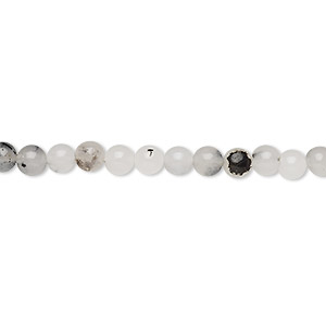 bead, tourmalinated quartz (natural), 4-5mm round, c grade, mohs hardness 7. sold per 15-inch strand.