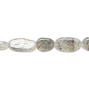 bead, tourmalinated quartz (natural), 8x6mm-13x8mm hand-cut flat oval, c- grade, mohs hardness 7. sold per 14-inch strand.
