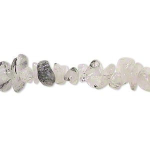 bead, tourmalinated quartz (natural), small chip, mohs hardness 7. sold per 15-inch strand.