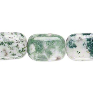 bead, tree agate (natural), 18x13mm puffed rectangle, b grade, mohs hardness 6-1/2 to 7. sold per 16-inch strand.