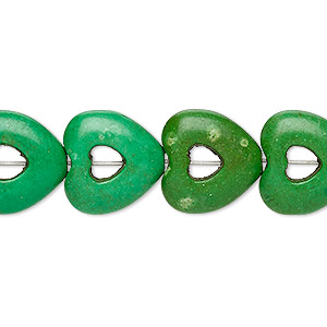 bead, turquoise (dyed / imitation), apple green, 15x15mm open heart with 4x4mm center hole. sold per 15-inch strand.