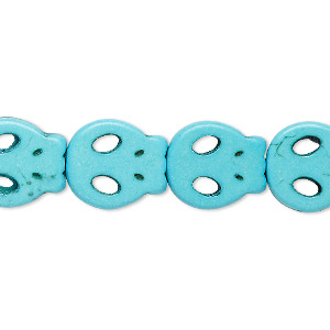 bead, turquoise (dyed / imitation), blue, 15x13mm-15x14mm skull. sold per 15-inch strand.
