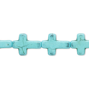 bead, turquoise (dyed / imitation), light blue, 16x12mm flat cross. sold per 15-inch strand.