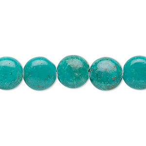 bead, turquoise (dyed / stabilized), 10mm flat round, b grade, mohs hardness 5 to 6. sold per 16-inch strand.