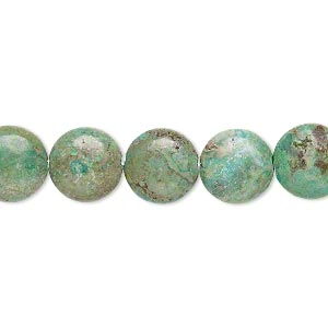 bead, turquoise (dyed / stabilized), 10mm puffed flat round, c grade, mohs hardness 5 to 6. sold per 7-inch strand.