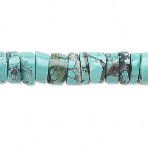 bead, turquoise (dyed / stabilized), 10x4mm heishi, c grade, mohs hardness 5 to 6. sold per 16-inch strand.