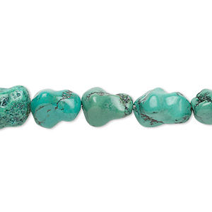 bead, turquoise (dyed / stabilized), 11x8mm-14x9mm dog bone, b grade, mohs hardness 5 to 6. sold per 16-inch strand.