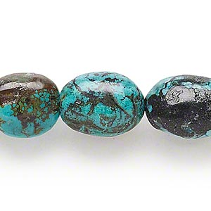 bead, turquoise (dyed / stabilized), 13x12mm-20x15mm puffed oval, c- grade, mohs hardness 5 to 6. sold per 16-inch strand.