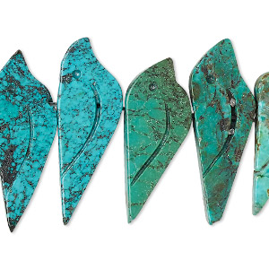 bead, turquoise (dyed / stabilized), 20x9mm-27x12mm hand-carved bird, b grade, mohs hardness 5 to 6. sold per pkg of 6.