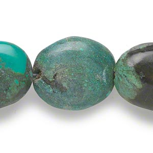 bead, turquoise (dyed / stabilized), 22x18mm-31x22mm puffed oval, c grade, mohs hardness 5 to 6. sold per 16-inch strand.