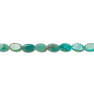 bead, turquoise (dyed / stabilized), 4x3mm-6x4mm flat oval, c grade, mohs hardness 5 to 6. sold per 15-inch strand.