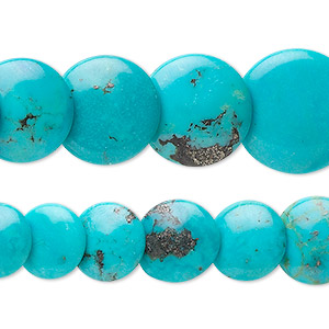 bead, turquoise (dyed / stabilized), 6-16mm graduated lentil, b grade, mohs hardness 5 to 6. sold per 16-inch strand.
