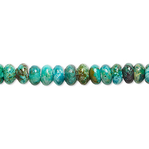 bead, turquoise (dyed / stabilized), 6x3mm rondelle, c grade, mohs hardness 5 to 6. sold per 16-inch strand.
