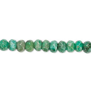 bead, turquoise (dyed / stabilized), 6x4mm faceted rondelle, c grade, mohs hardness 5 to 6. sold per 16-inch strand.