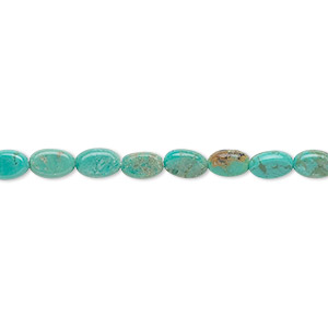 bead, turquoise (dyed / stabilized), 6x4mm flat oval, c grade, mohs hardness 5 to 6. sold per 16-inch strand.