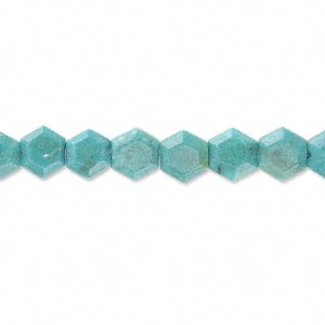 bead, turquoise (dyed / stabilized), 6x4mm hexagon, b grade, mohs hardness 5 to 6. sold per 16-inch strand.