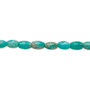 bead, turquoise (dyed / stabilized), 6x4mm oval, b grade, mohs hardness 5 to 6. sold per 16-inch strand.
