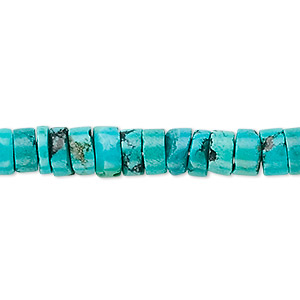 bead, turquoise (dyed / stabilized), 7x3mm-8x5mm heishi, b grade, mohs hardness 5 to 6. sold per 16-inch strand.
