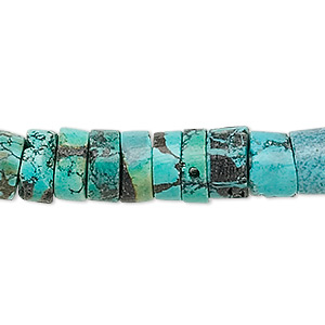 bead, turquoise (dyed / stabilized), 8-13mm heishi, d grade, mohs hardness 5 to 6. sold per 15-inch strand.