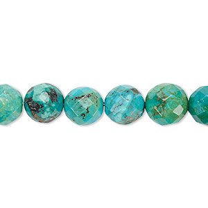 bead, turquoise (dyed / stabilized), 8mm faceted round, c grade, mohs hardness 5 to 6. sold per 16-inch strand.