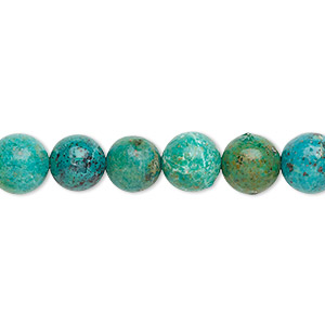 bead, turquoise (dyed / stabilized), 8mm round, b grade, mohs hardness 5 to 6. sold per 16-inch strand.