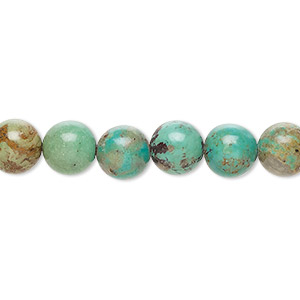 bead, turquoise (dyed / stabilized), 8mm round, c grade, mohs hardness 5 to 6. sold per 15-inch strand.