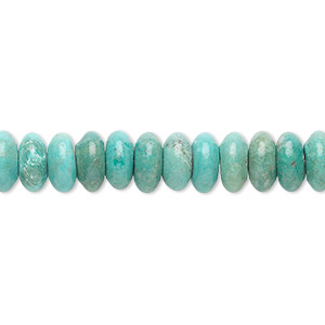 bead, turquoise (dyed / stabilized), 8x4mm rondelle, b grade, mohs hardness 5 to 6. sold per 16-inch strand.