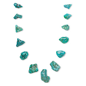 bead, turquoise (dyed / stabilized), blue / blue-green / green, 5x2mm-32x10mm graduated top-drilled freeform, c grade, mohs hardness 5 to 6. sold per pkg of 13.