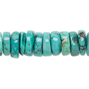 bead, turquoise (dyed / stabilized), blue, 11x2mm-12x5mm heishi, b grade, mohs hardness 5 to 6. sold per 16-inch strand.