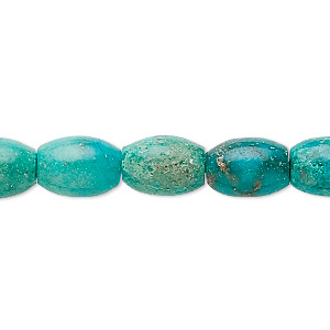 bead, turquoise (dyed / stabilized), blue, 11x8mm barrel, b- grade, mohs hardness 5 to 6. sold per 16-inch strand.