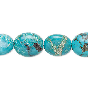 bead, turquoise (dyed / stabilized), blue, 13x12mm-16x13mm puffed oval, c grade, mohs hardness 5 to 6. sold per 7-inch strand.
