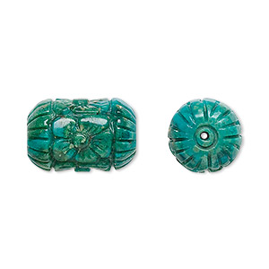 bead, turquoise (dyed / stabilized), blue, 18x12mm carved tube, b grade, mohs hardness 5 to 6. sold individually.