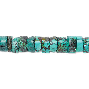 bead, turquoise (dyed / stabilized), blue, 9x5mm heishi, d grade, mohs hardness 5 to 6. sold per 16-inch strand.