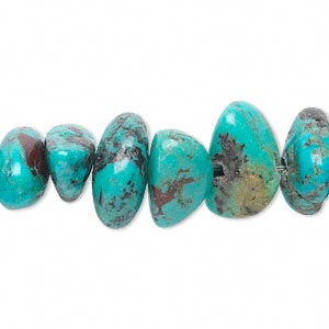 bead, turquoise (dyed / stabilized), blue green, 15x8x6mm-20x12x10mm medium nugget, mohs hardness 5 to 6. sold per 15-inch strand.