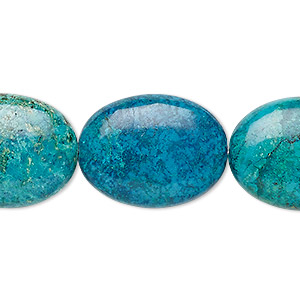 bead, turquoise (dyed / stabilized), blue-green, 24x18mm-25x20mm puffed oval, b- grade, mohs hardness 5 to 6. sold per 8-inch strand, approximately 5 beads.