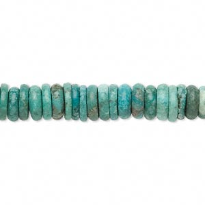 bead, turquoise (dyed / stabilized), blue-green, 6x2mm-8x3mm graduated rondelle, c grade, mohs hardness 5 to 6. sold per 16-inch strand.