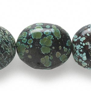 bead, turquoise (dyed / stabilized), blue-green, extra-large to gigantic graduated nugget, mohs hardness 5 to 6. sold per 15-inch strand.