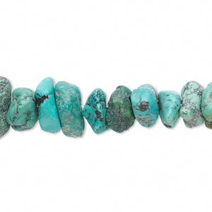 bead, turquoise (dyed / stabilized), blue-green, large chip, mohs hardness 5 to 6. sold per 16-inch strand.