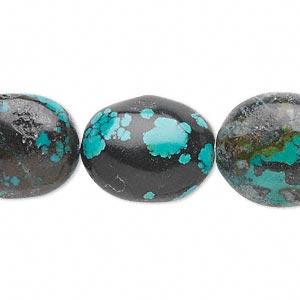 bead, turquoise (dyed / stabilized), blue-green, medium oval nugget, mohs hardness 5 to 6. sold per 16-inch strand.