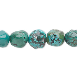 bead, turquoise (dyed / stabilized), blue-green, medium to large faceted pebble, mohs hardness 5 to 6. sold per 16-inch strand.