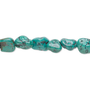 bead, turquoise (dyed / stabilized), blue-green, medium to large pebble, mohs hardness 5 to 6. sold per 16-inch strand.