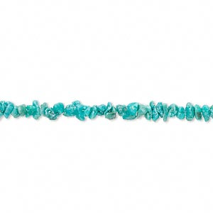 bead, turquoise (dyed / stabilized), blue-green, mini chip, mohs hardness 5 to 6. sold per 16-inch strand.